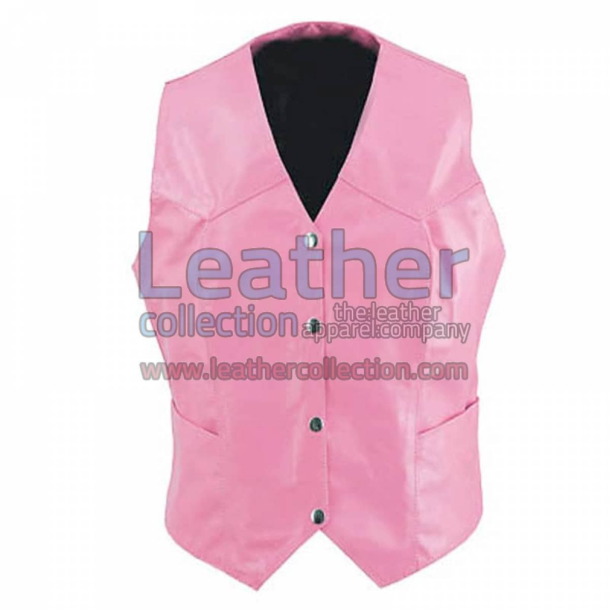 Women Vintage Pink Fashion Leather Vest