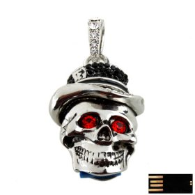 Skeleton Skull with Hat Jewelry USB Flash Drive(8GB)