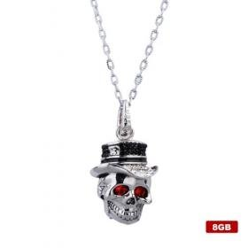 Death Skeleton Head Stainless Steel Crystal USB2.0 Necklace Flash Drive (8GB)