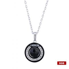 Rotundity Stainless Steel Crystal USB2.0 Flash Drive Necklace (8GB)