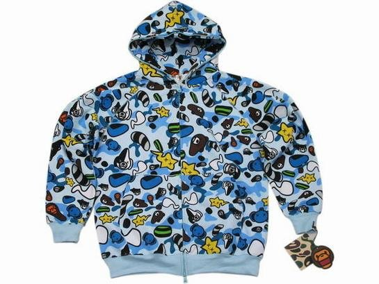 BAPE hoodie: blue camo with illustrations