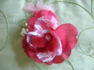 Red open rose w. lace
