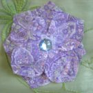 Purple and white fabric flower hair pin or corsage pin