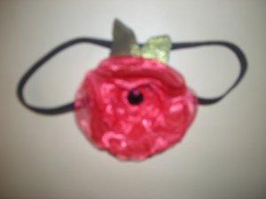 Red organza pet neck flower