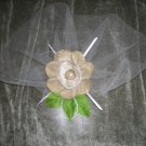 Gold scaloped fabric flower sm tulle veil