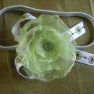 Light green organza flower elastic headband