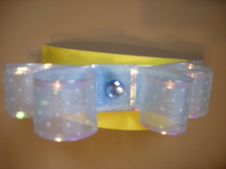 Large blue organza sparkly bow elastic headband