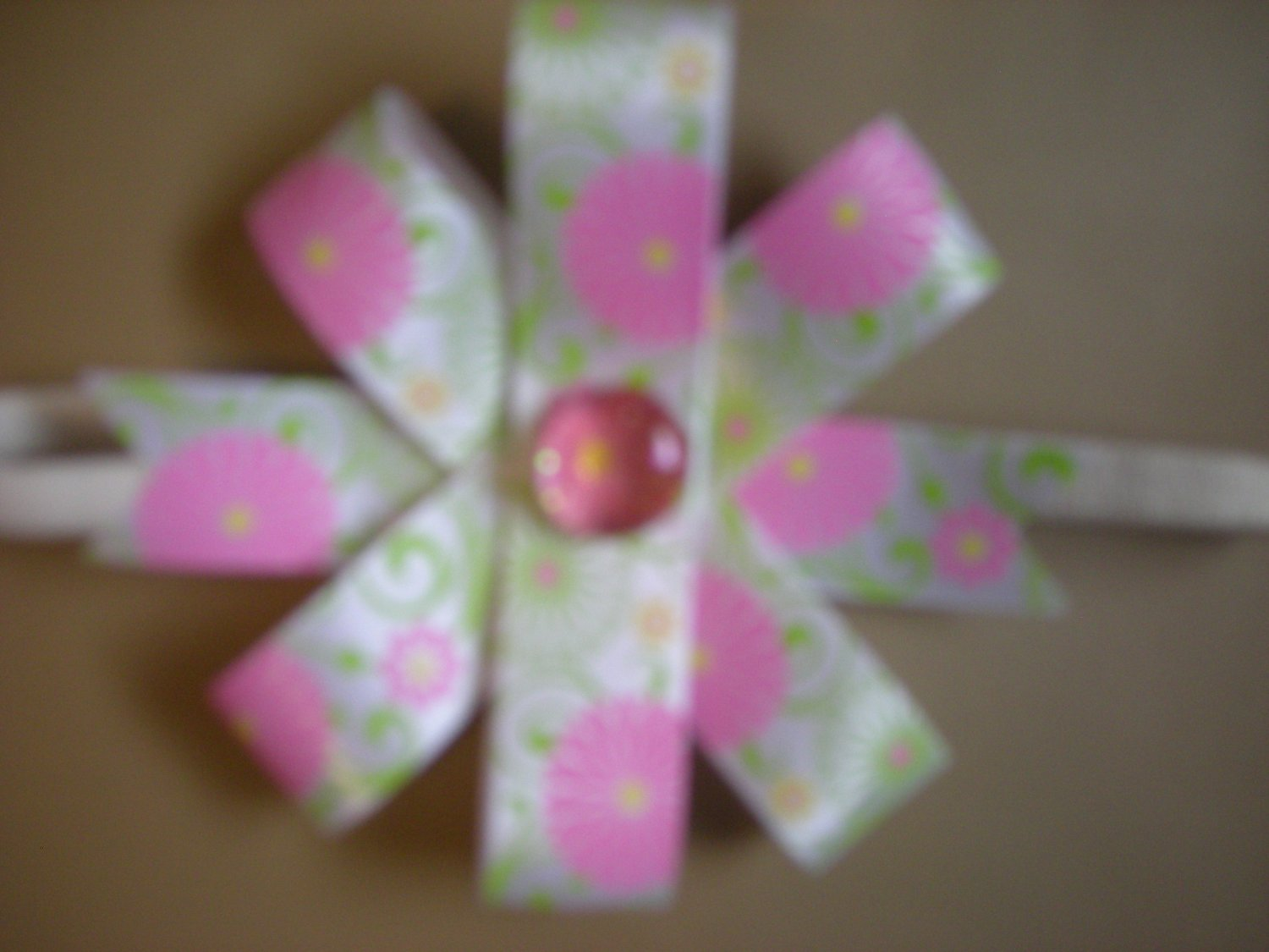 White,pink and green satin 6 ways bow  elastic headband