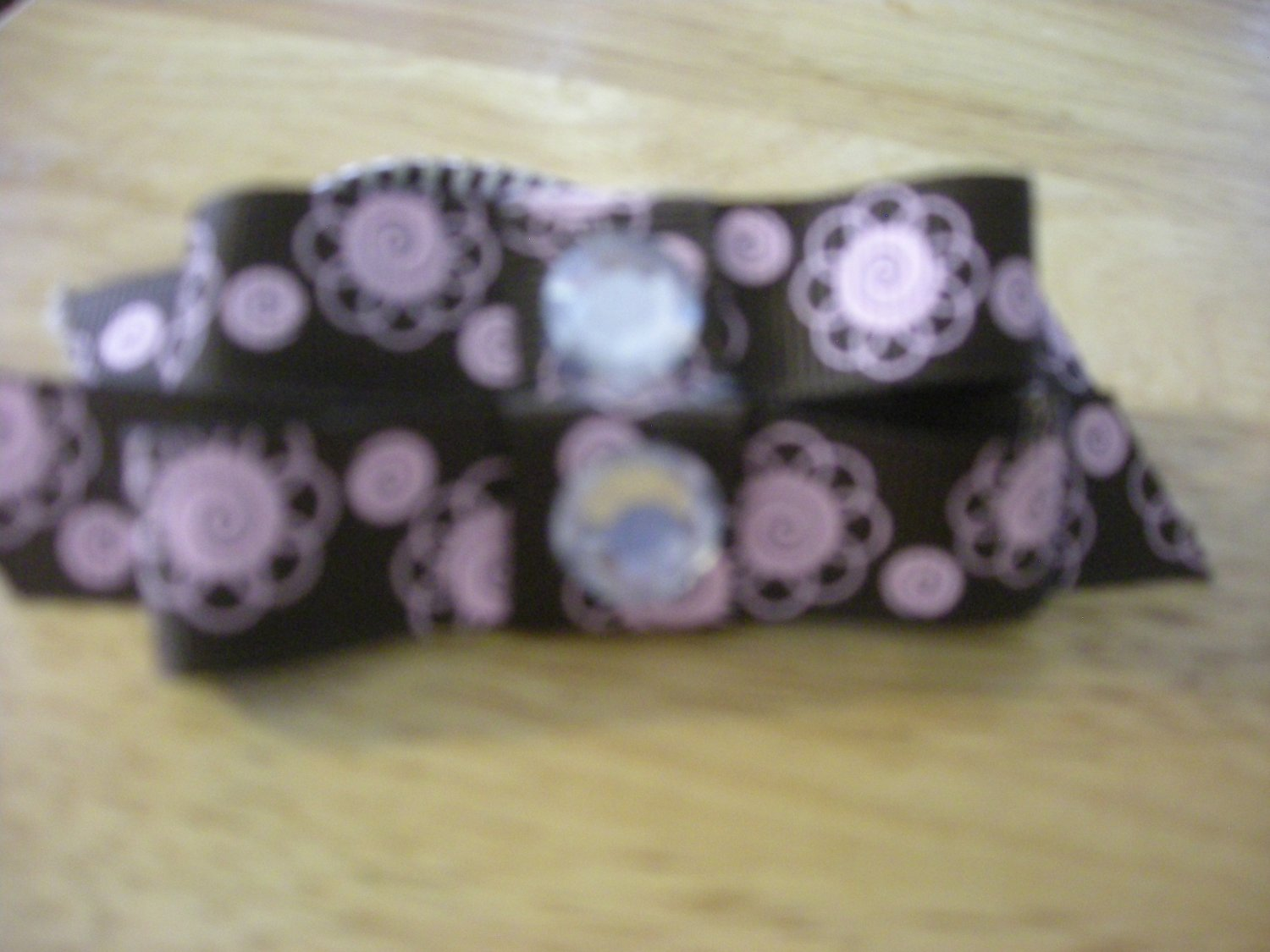 Brown and pink grossgrain two way bow pony tail