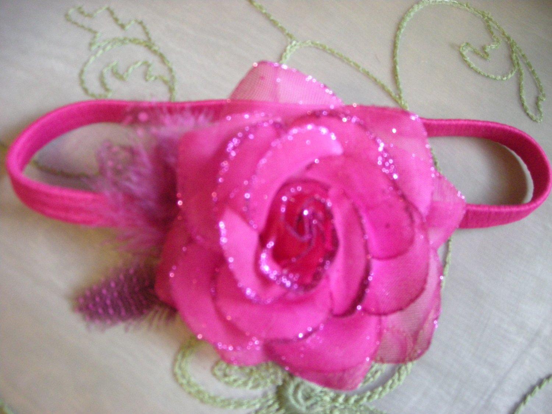 Fushia sparkly rose  headband