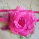 Fushia sparkly rose  headband