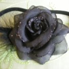 Black sparkly rose headband