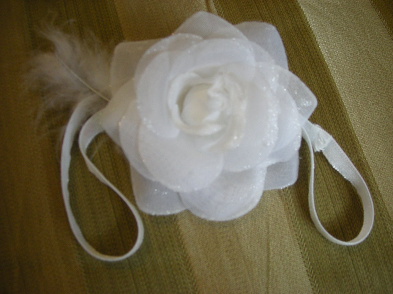 White Sparkly rose elastic headband