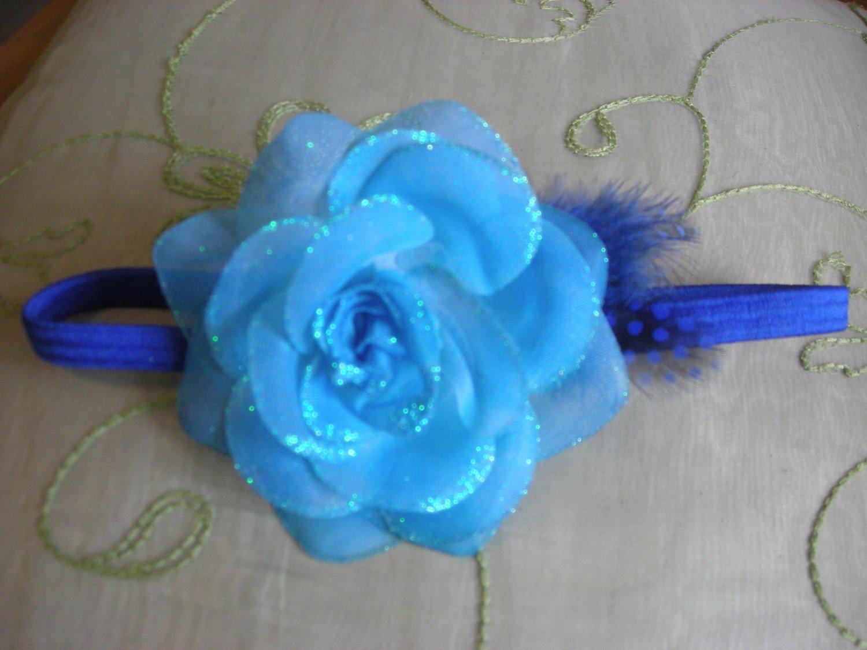 Blue rose sparkly elastic headband