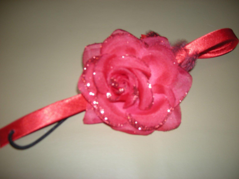 Red sparkly rose elastic headband