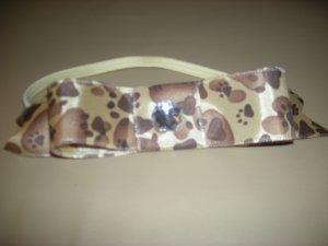 Animal print bow elastic headband