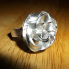 White metal twisted rose ring size 7
