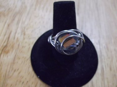 silver metal, gold clear irridescent glass faceted bead ring size 7