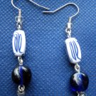 White and Blue Dangle Earrings