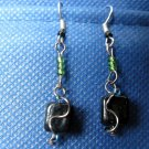 Wire Accented Black, Green, and Blue Earrings
