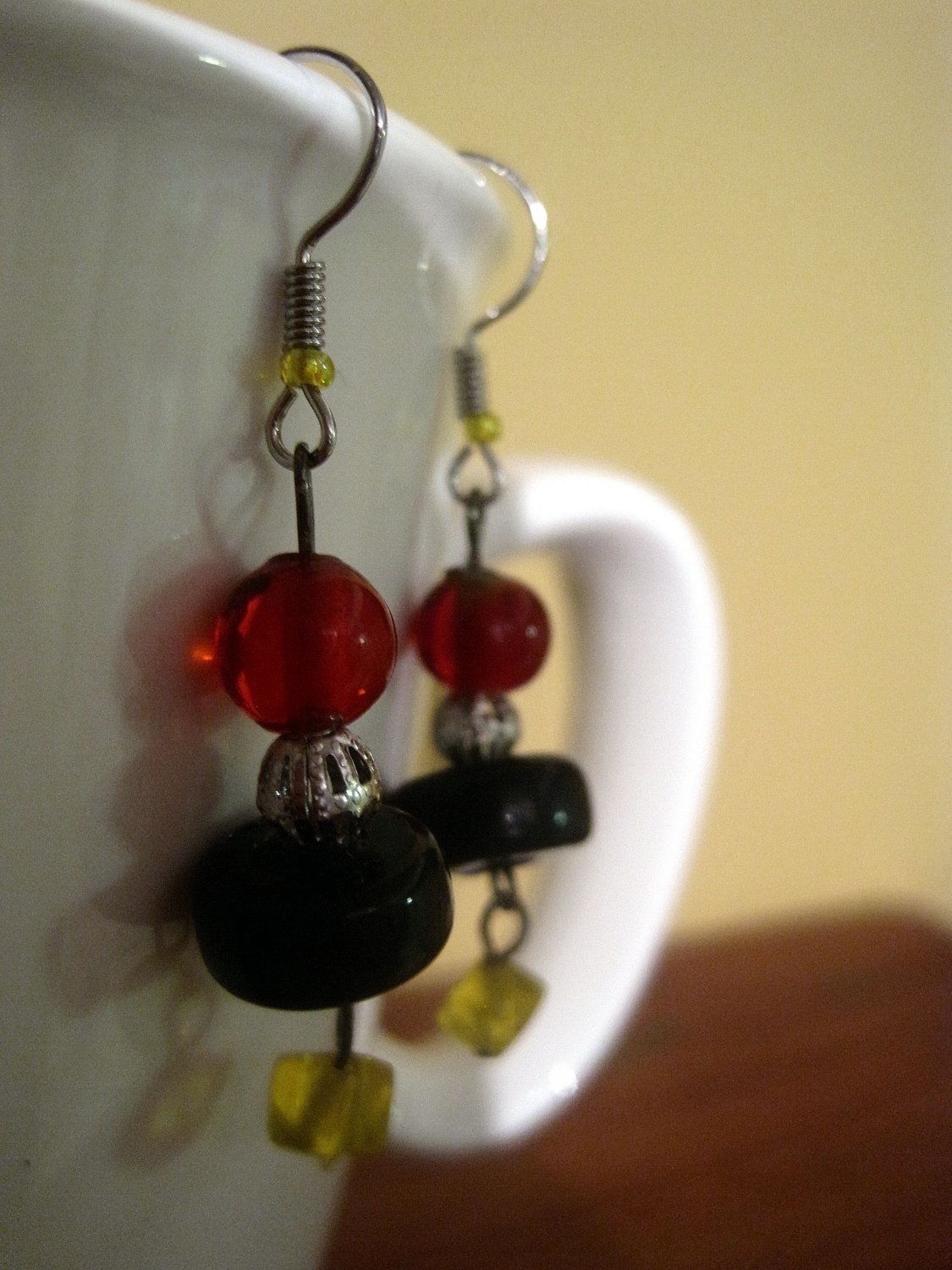 Black, Red, and Yellow Dangle Earrings