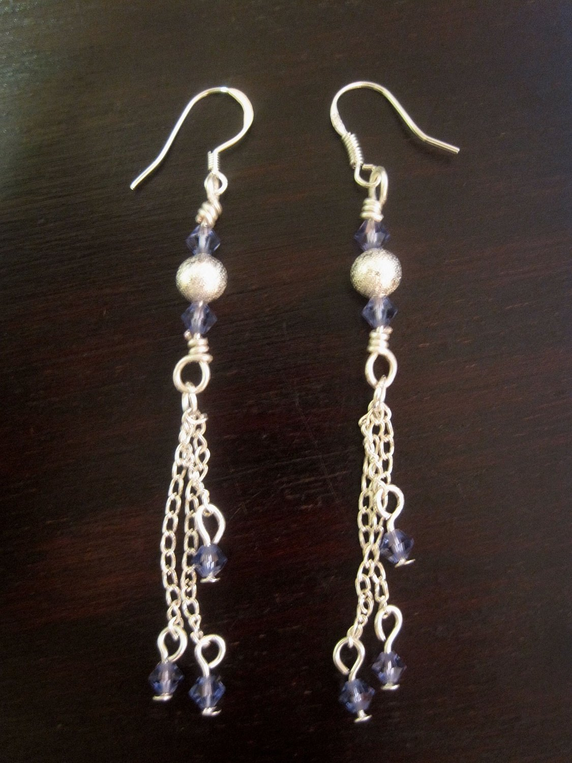 Sterling Silver Earring with purple swarovski crystals