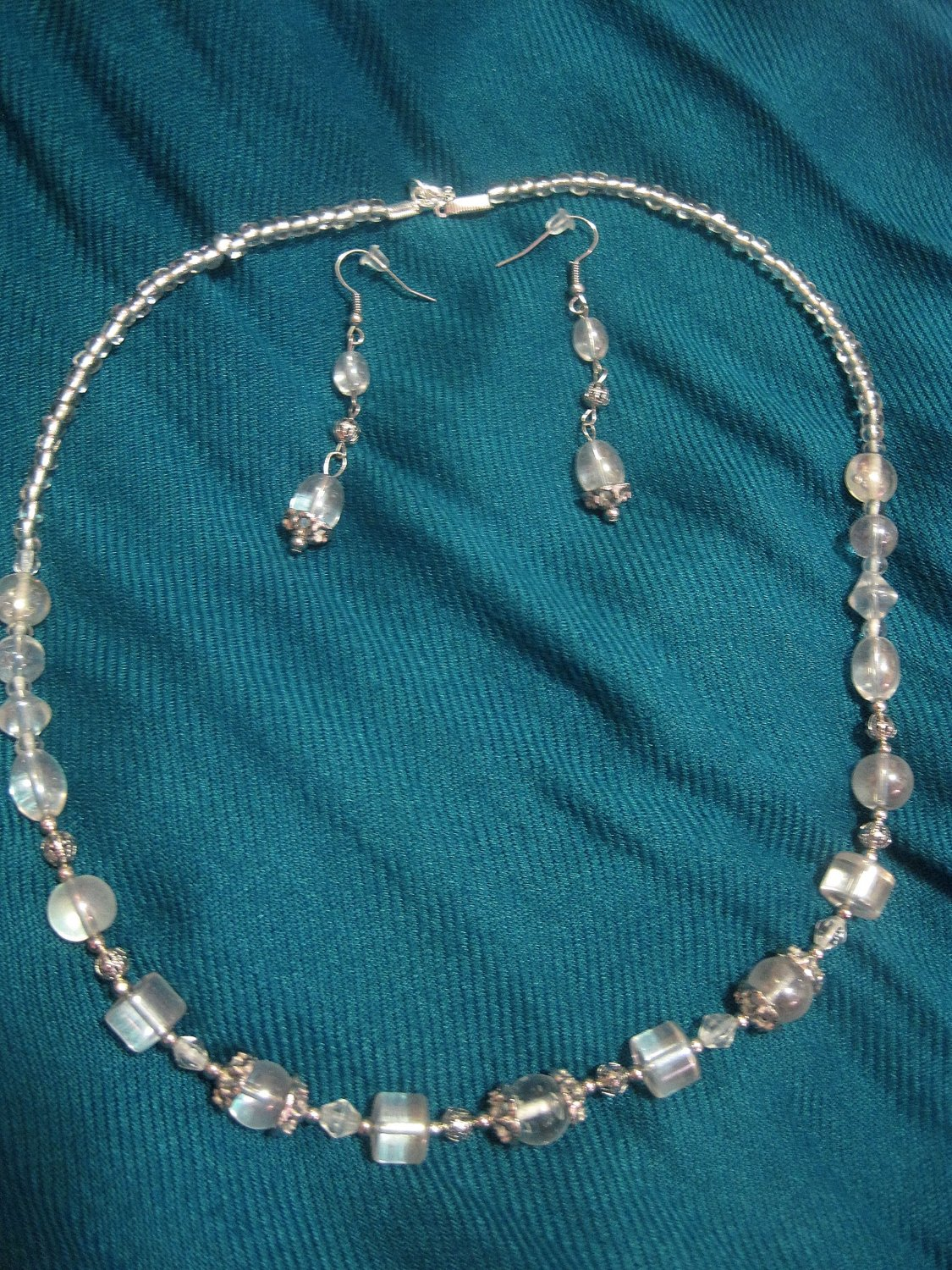 Necklace/Earring Set with Clear Glass Beads