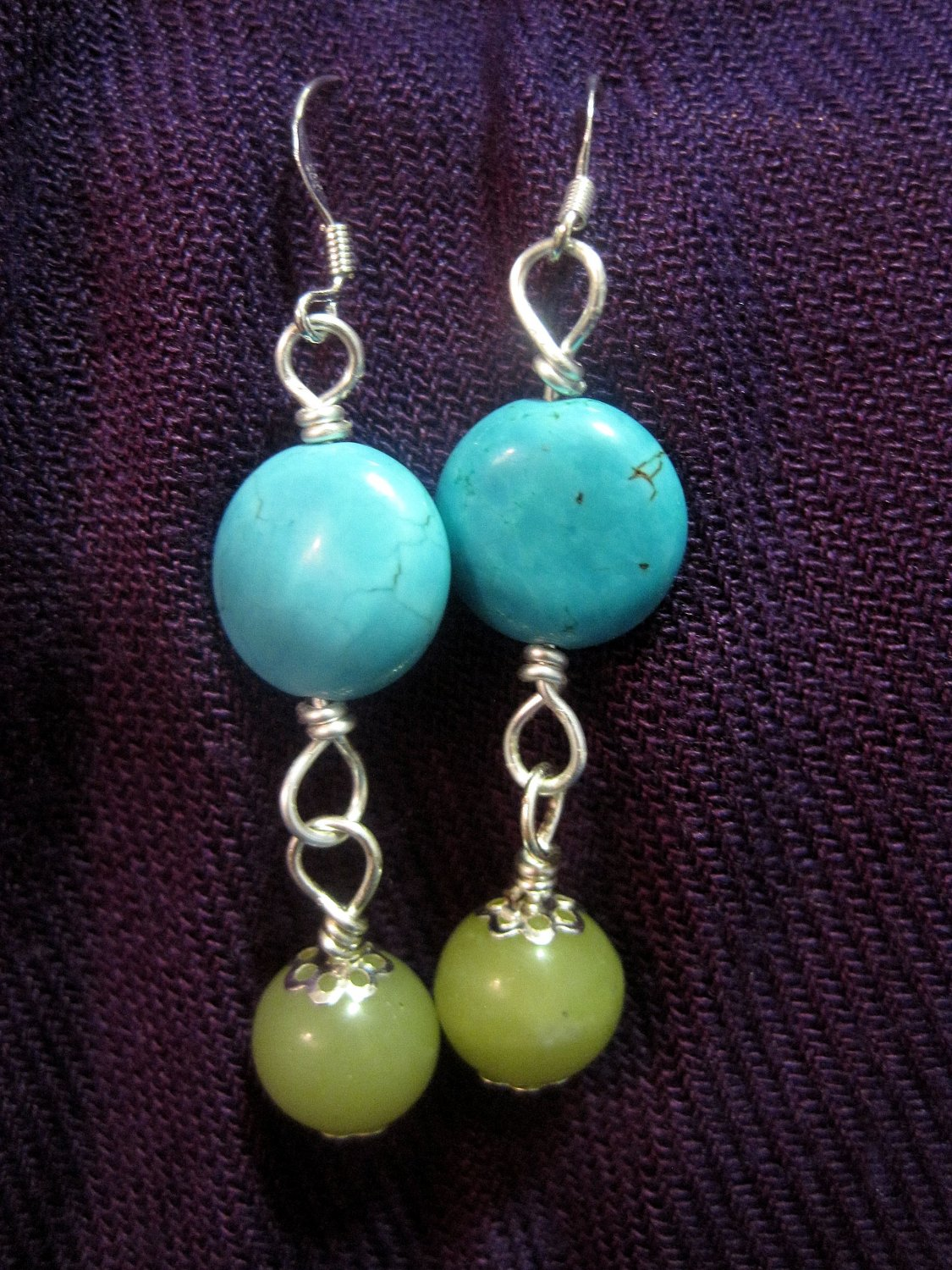 Turquoise and African Jade Earrings
