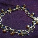 Amber and Cobalt Blue Bracelet with Silver Plated Shoe Charm