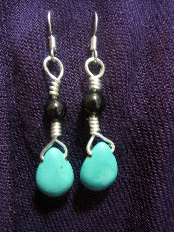 Turquoise Drop Garnet Round Bead Earrings