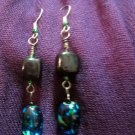 Black Square, Blue Lampwork Glass Earrings