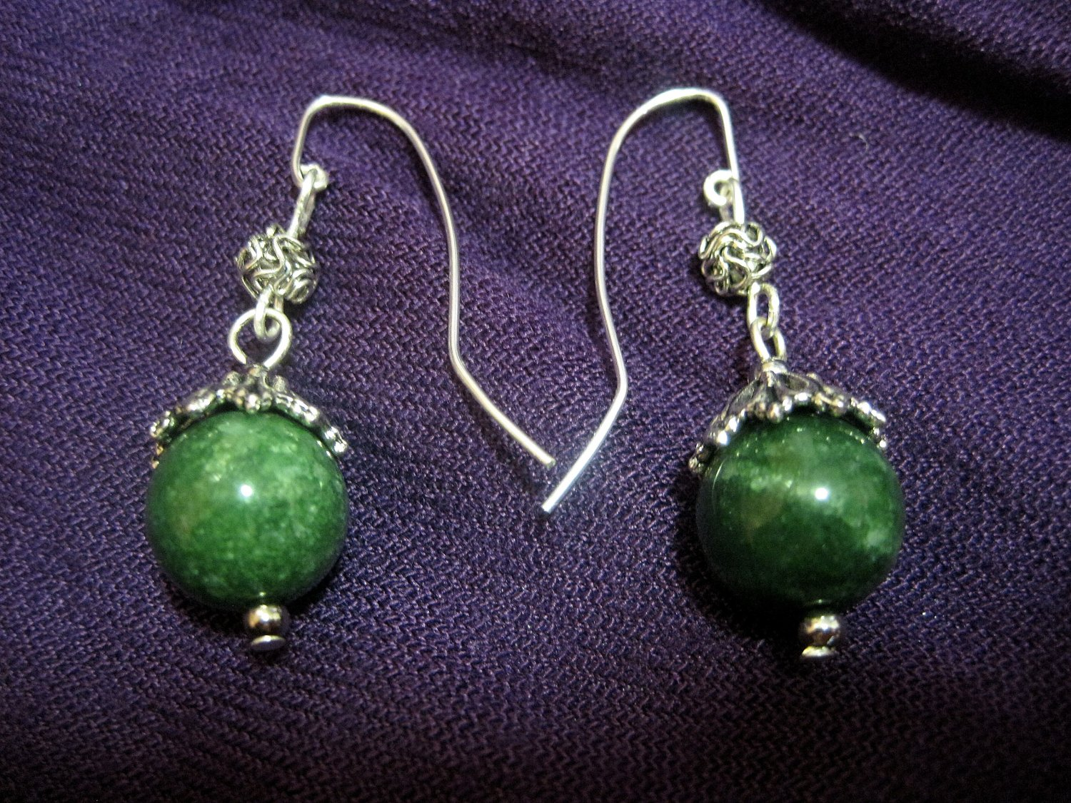Jade with Wire Balls on French Ear Hook