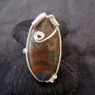 Wire Wrapped Crazy Lace Agate  Ring