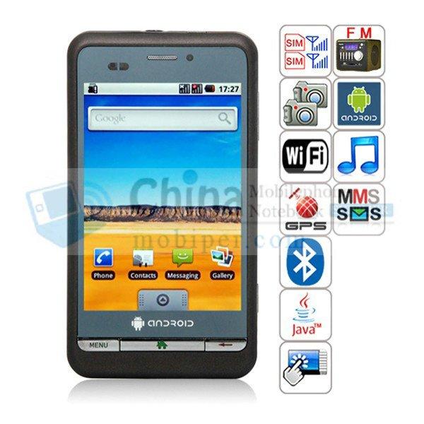 P800 Android 2.2 OS 3.5inch capacitive  screen quad band dual sim  smart  phone  GPS  dual cameras