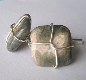 ocean jasper wired cufflinks