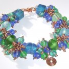 blue green copper and glass bracelet