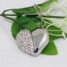 8GB USB Flash Drive Necklace - Jeweled Metal Heart