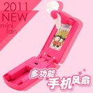 Multi-function mobile phone mini fan rose red