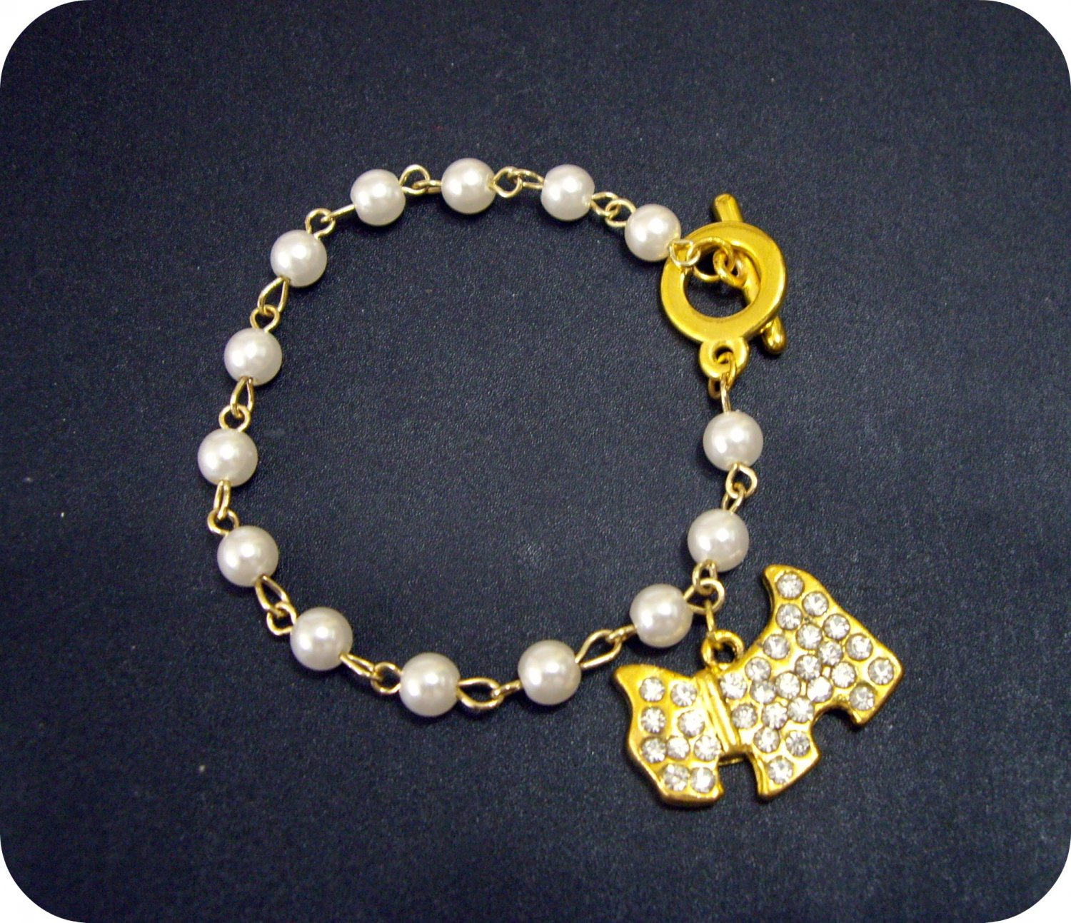 Very Cute, Lovely Crystal & Faux Pearls Doggy/Puppy Bracelets