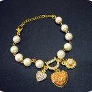 Lovely Crystal Heart & Initial D & Faux Pearl Bracelet