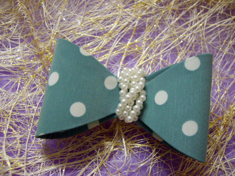 Aqua Blue Ribbon Knot  Bow w/ Pearls Hair Barrette/Clip