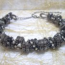 Ladies Dark Gray Chained with Clear White Crystal Necklace