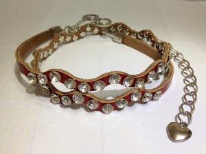 Genuine Leather with Crystals/Rhinestones Thin Belt & Waist Chain - Red