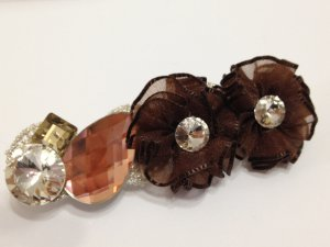 Brown Mesh Floral with Big Crystal Hair Barrette/Clip/Pin
