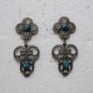 Brand New Fashionable Silver Grey/Gray with Blue Beads Floral Shape Dangle Hook Earrings
