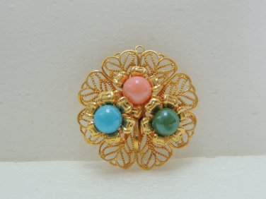 Brand New Ladies Gold Round Shape with Pink/Blue/Green beads Brooch/Pin