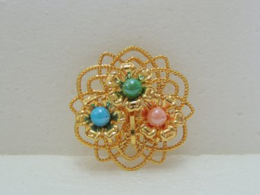 Ladies Beautiful Gold Floral Shape with Green/Blue/Pink beads Brooch/Pin