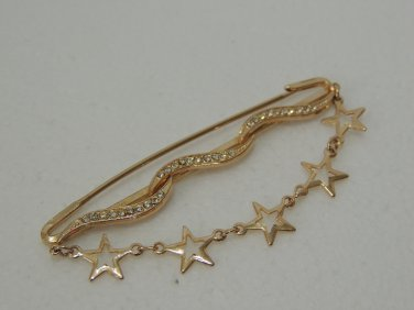 Ladies Gold Star Chain with Clear White Crystal Brooch/Pin