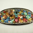 Ladies Multi-Color Crystals Floral Hair Barrette/Clip/Pin