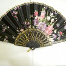 Brand New Japanese Floral Print Folding Fan - Black